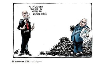 Volkskrant cartoon toont Netanyahu als man achter VK Labour antisemitisme schandalen